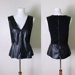SANCTUARY Faux Leather Quilted Peplum Top